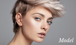 Profile View of Model with Short White Hair